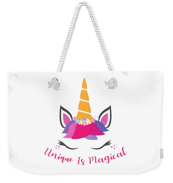Unique Is Magical - Baby Room Nursery Art Poster Print Weekender Tote Bag