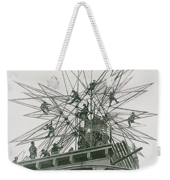 Universal Exposition Of 1900, Installation Of The Star On Top Of The Palace Of Electricity  Weekender Tote Bag