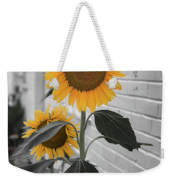 Urban Sunflower - Black And White Weekender Tote Bag