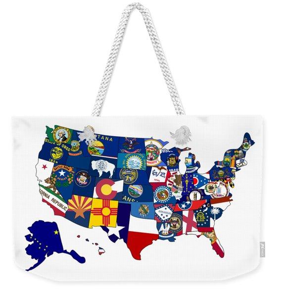 Usa States Flags Map Weekender Tote Bag