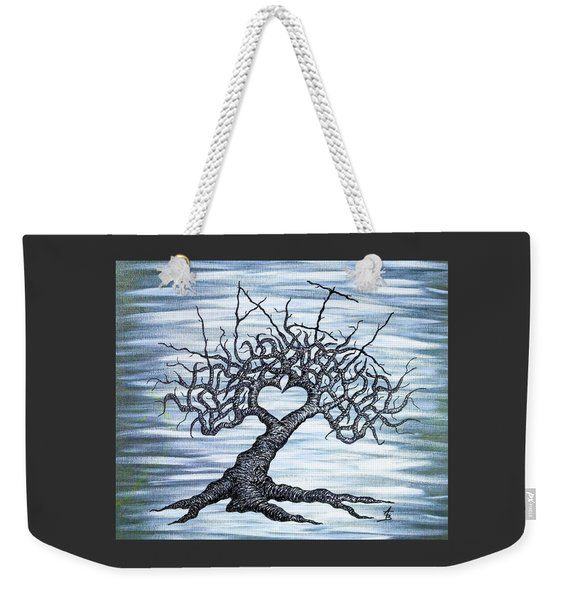 Weekender Tote Bag featuring the drawing Vail Love Tree by Aaron Bombalicki