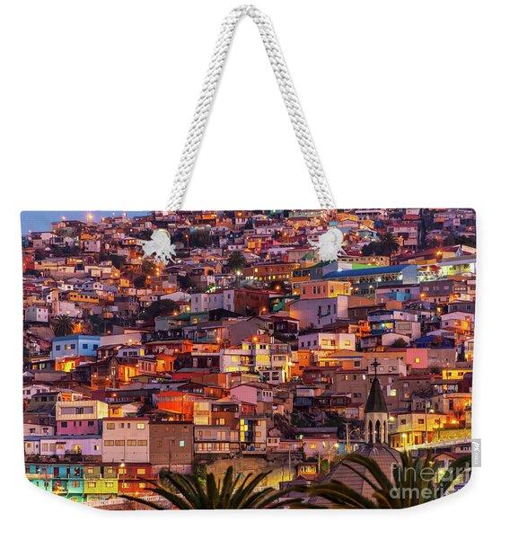 Valparaiso At Night Weekender Tote Bag