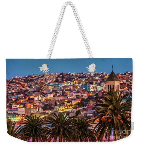 Valparaiso Illuminated At Night Weekender Tote Bag