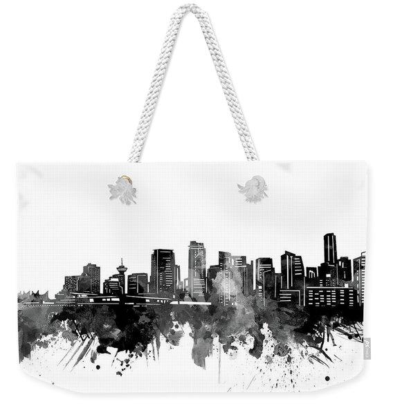 Vancouver Skyline Bw Weekender Tote Bag