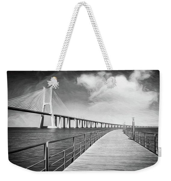 Vasco Da Gama Bridge Lisbon Portugal Black And White  Weekender Tote Bag