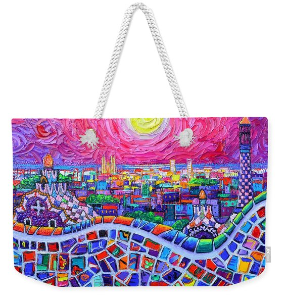 Vibrant Barcelona Night View From Park Guell Modern Impressionism Knife Painting Ana Maria Edulescu Weekender Tote Bag