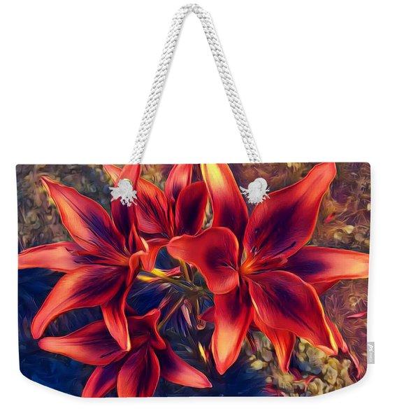 Vibrant Red Lilies Weekender Tote Bag