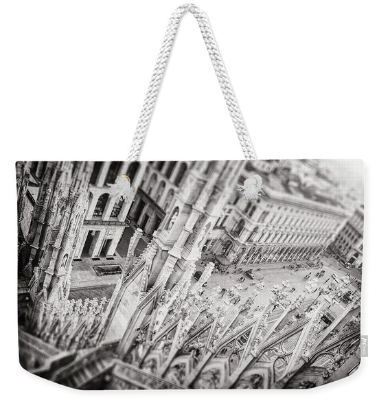 View From The Duomo Milan Italy Black And White  Weekender Tote Bag