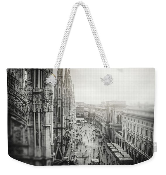View From The Duomo Rooftop Milan Italy Black And White  Weekender Tote Bag