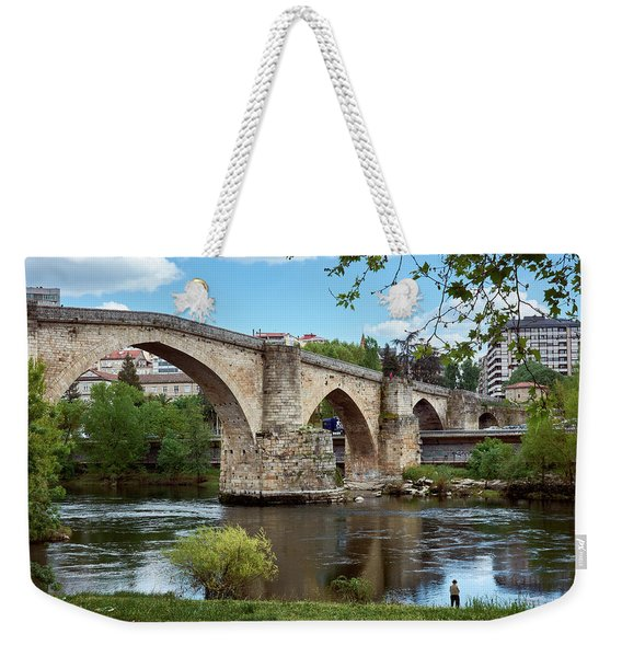 View Of The Roman Bridge And The Minho River Weekender Tote Bag