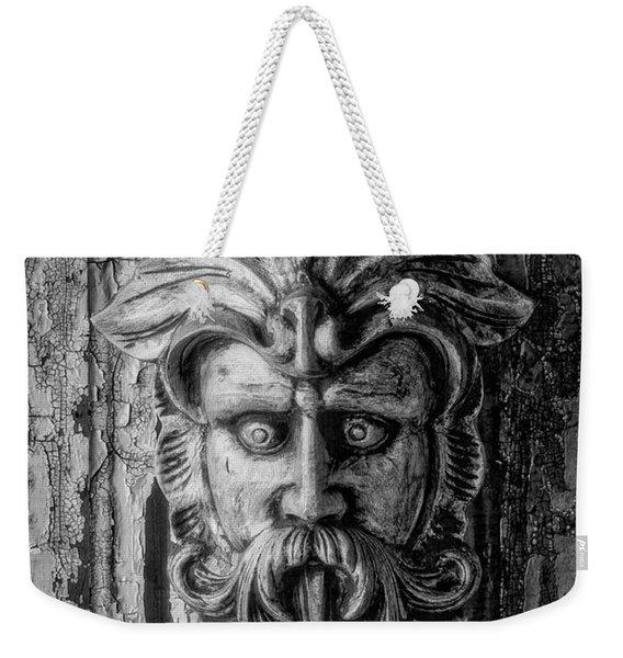 Viking Mask On Old Door In Black And White Weekender Tote Bag