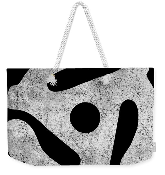 Weekender Tote Bag featuring the digital art Vintage 45 Rpm Record Adapter by Flippin Sweet Gear