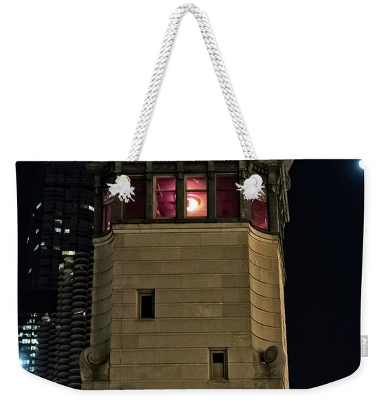 Vintage Chicago Bridge Tower At Night Weekender Tote Bag