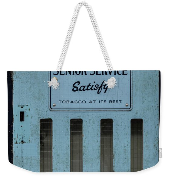 Weekender Tote Bag featuring the photograph Senior Service Vintage Cigarette Vending Machine by Scott Lyons