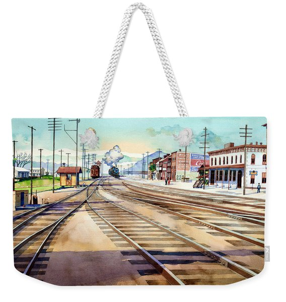 Vintage Color Columbia Rail Yards Weekender Tote Bag