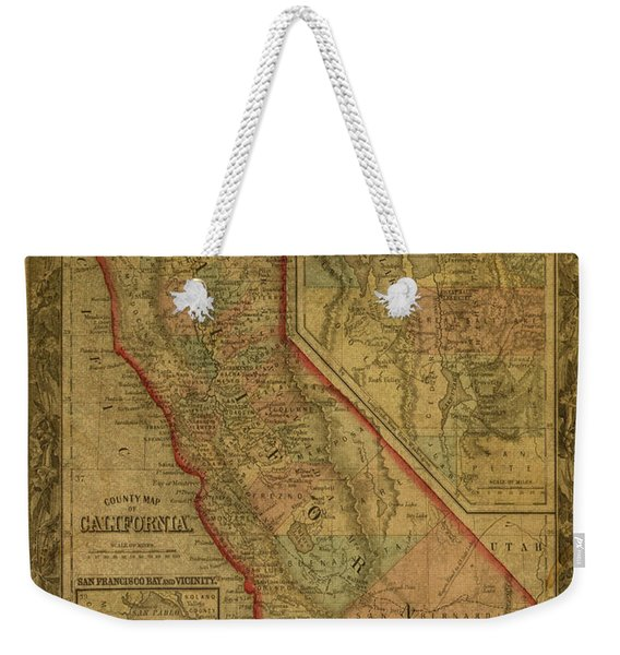 Vintage Map Of California Weekender Tote Bag