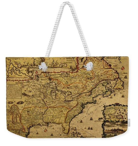 Vintage Map Of French America 1719 Weekender Tote Bag