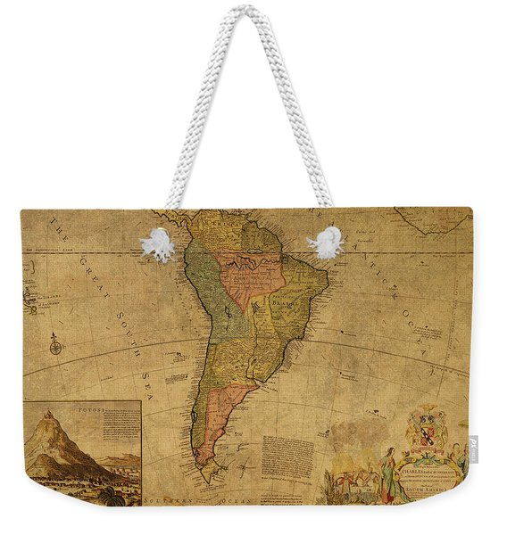 Vintage Map Of South America 1715 Weekender Tote Bag