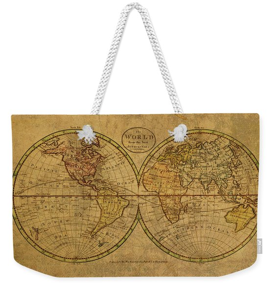 Vintage Map Of The World 1798 Weekender Tote Bag