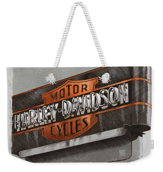 Weekender Tote Bag featuring the drawing Vintage Motorcycle Shop by Clint Hansen
