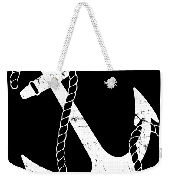 Weekender Tote Bag featuring the digital art Vintage Nautical Anchor by Flippin Sweet Gear