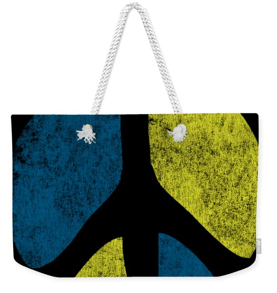 Weekender Tote Bag featuring the digital art Vintage Peace Sign by Flippin Sweet Gear