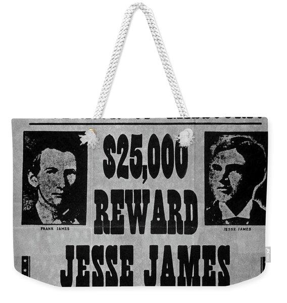 Vintage Wanted Poster For The Arrest Of Jesse James Weekender Tote Bag