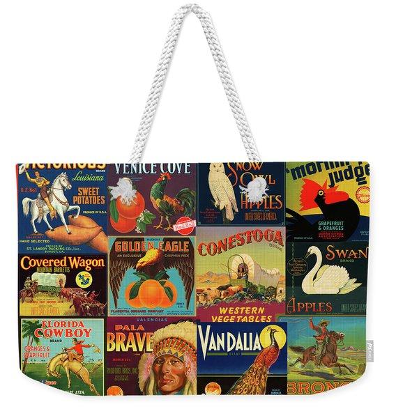 Vintage Western Theme Fruit And Vegetable Crate Labels Weekender Tote Bag