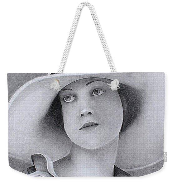 Vintage Woman In Brim Hat Weekender Tote Bag