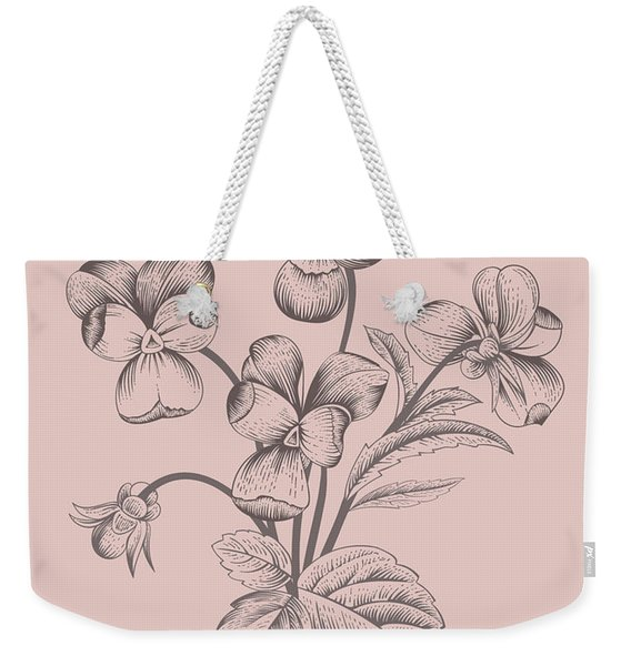 Violet Blush Pink Flower Weekender Tote Bag