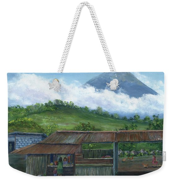 Volcano Agua, Guatemala, With Fruit Stand Weekender Tote Bag