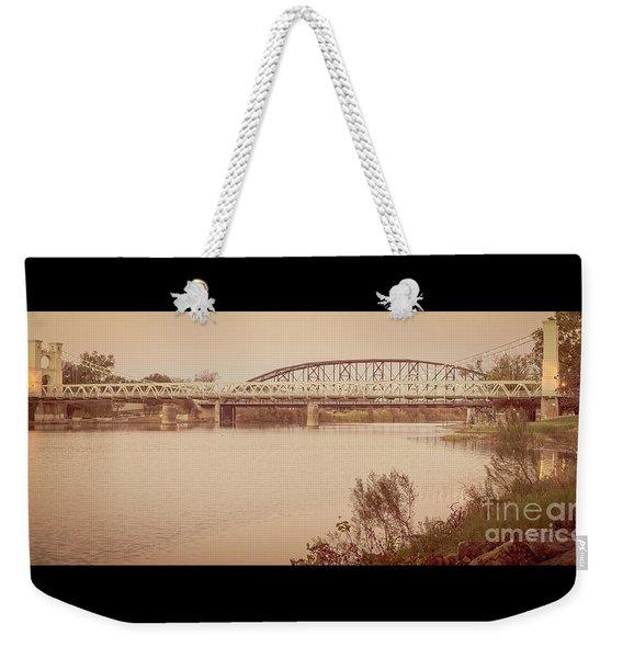Waco Suspension Bridge Panoramic Weekender Tote Bag