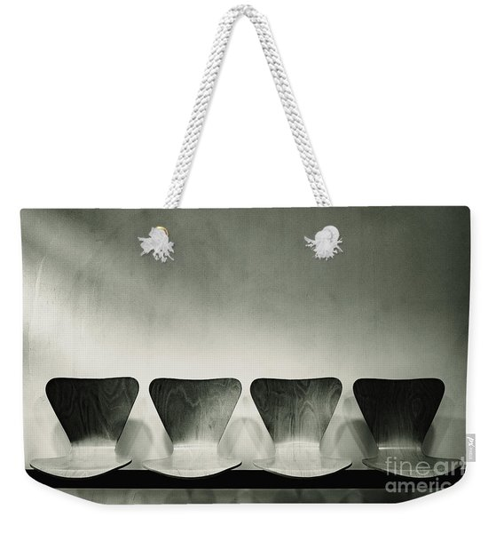 Waiting Room With Empty Wooden Chairs, Concept Of Waiting And Passage Of Time, Black And White Image, Free Space For Text. Weekender Tote Bag