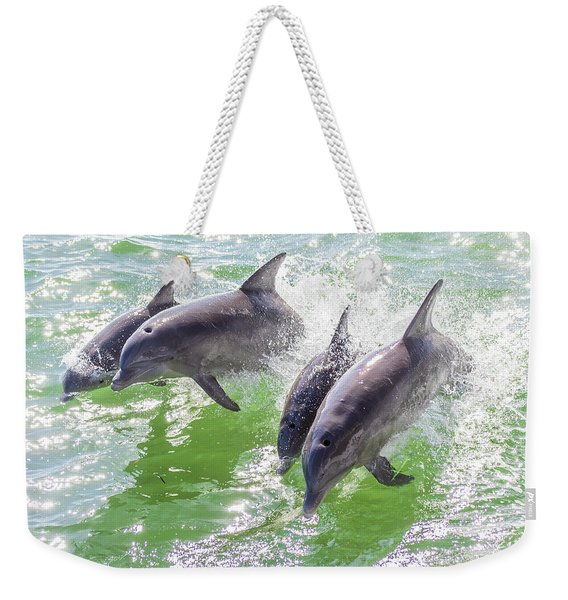 Wake Surfing Dolphin Family Weekender Tote Bag