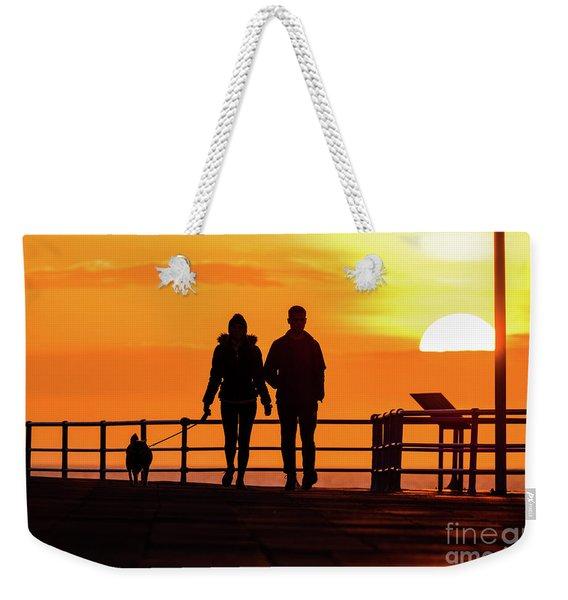 Walking The Dog At Sunset Weekender Tote Bag