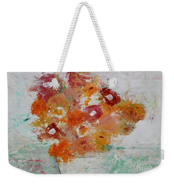 Weekender Tote Bag featuring the painting Warm Floral by Kim Nelson