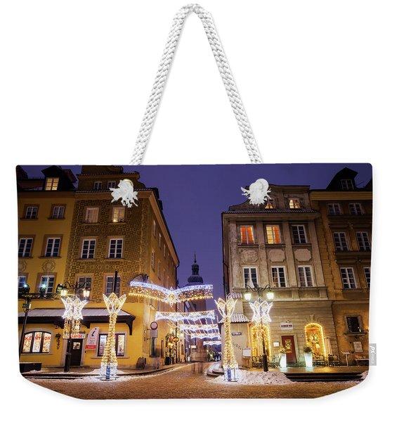 Warsaw Old Town Houses At Night Weekender Tote Bag