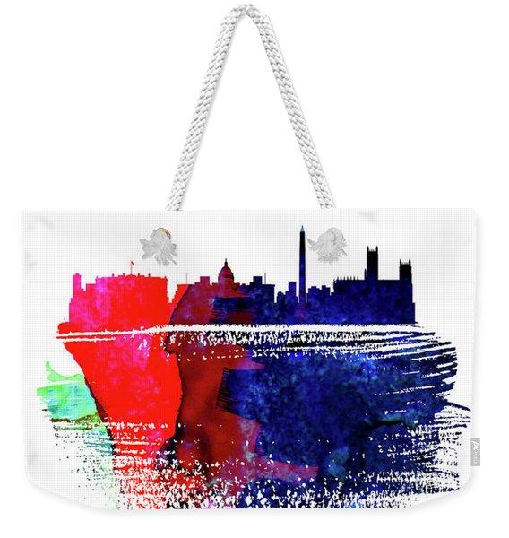 Washington, D.c. Skyline Brush Stroke Watercolor   Weekender Tote Bag