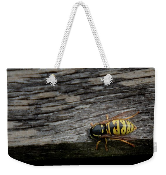 Weekender Tote Bag featuring the photograph Wasp On Wood by Scott Lyons