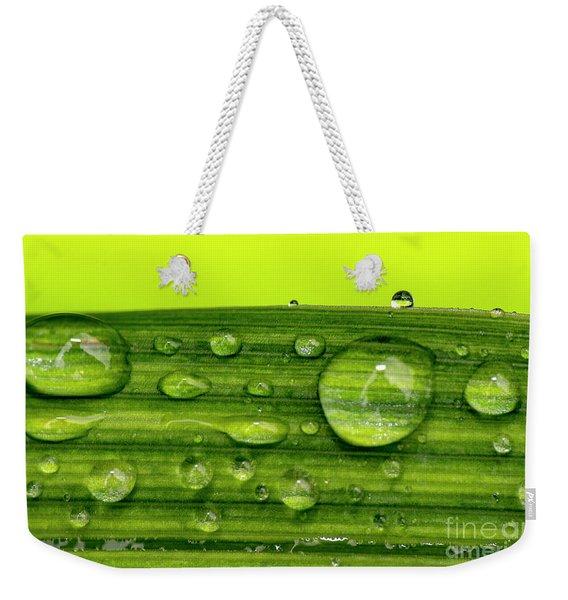 Water Drops On Leaf Weekender Tote Bag