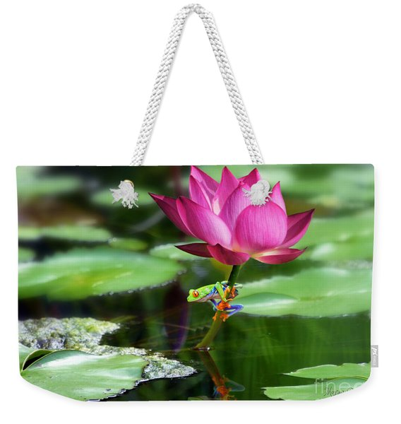 Water Lily And Little Frog Weekender Tote Bag