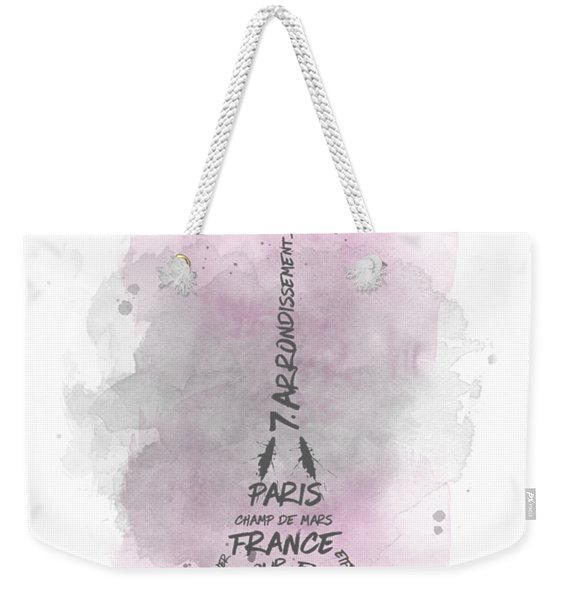 Watercolor Art Eiffel Tower - Pink Weekender Tote Bag