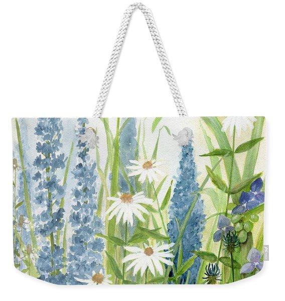 Watercolor Blue Flowers Weekender Tote Bag