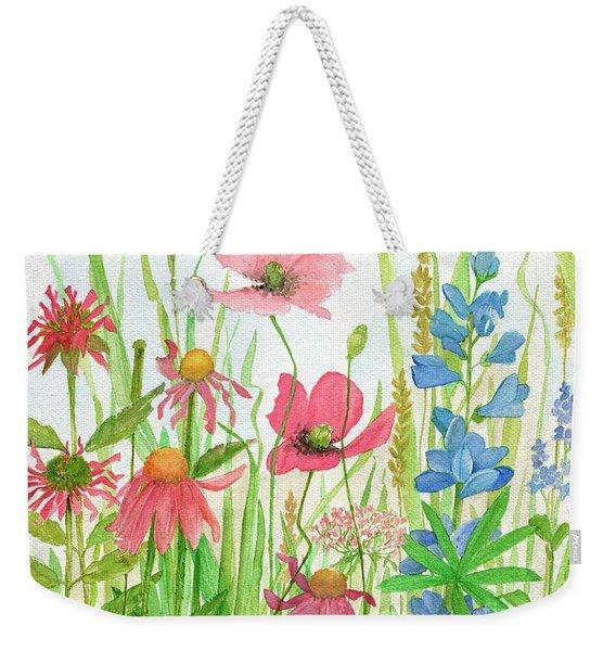 Watercolor Touch Of Blue Flowers Weekender Tote Bag