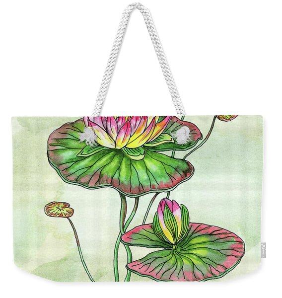 Watercolor Water Lily Botanical Flower Weekender Tote Bag