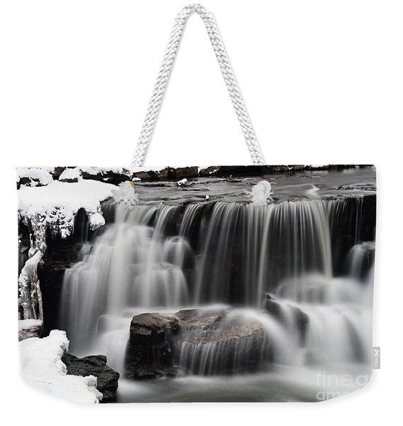 Waterfall And Snow Weekender Tote Bag