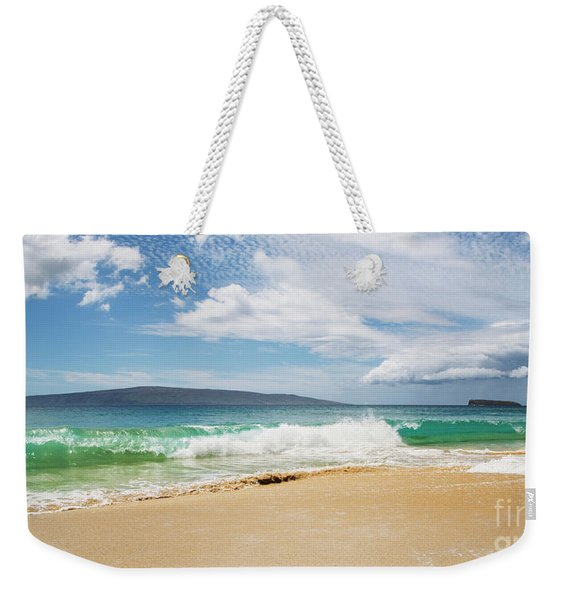 Weekender Tote Bag featuring the photograph Wave At Big Beach - Makena Maui by Charmian Vistaunet