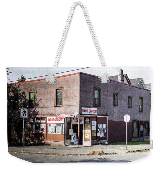 Weekender Tote Bag featuring the photograph Wayne Grocery by Juan Contreras