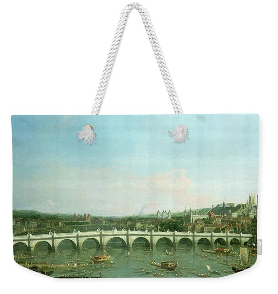Westminster Bridge From The North With Lambeth Palace In Distance Weekender Tote Bag