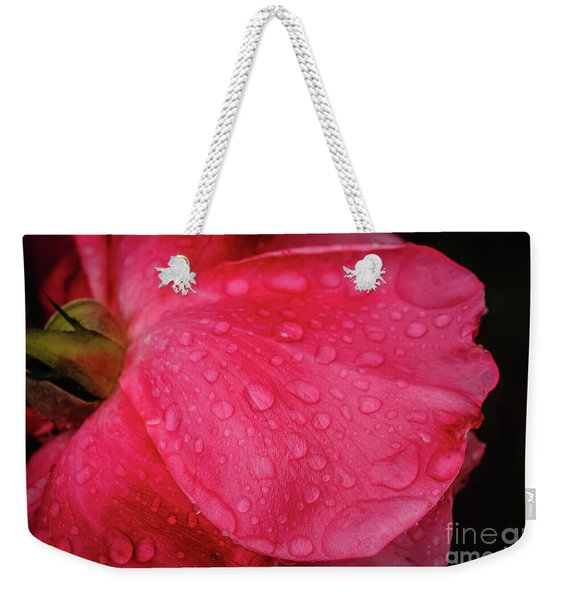 Wet Rose Petal Weekender Tote Bag